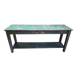 Antique Primitive French Green Console Table Farmhouse Table For Sale