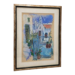 """Vintage """"White Stucco Church"""" Pastel Painting by Kittey Kristensen For Sale"""