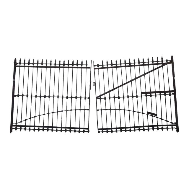 1800s Forged Iron Dual Driveway Gates - a Pair For Sale