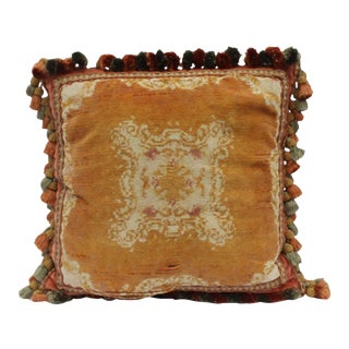Burnt Orange Silk Tassel Pillow For Sale