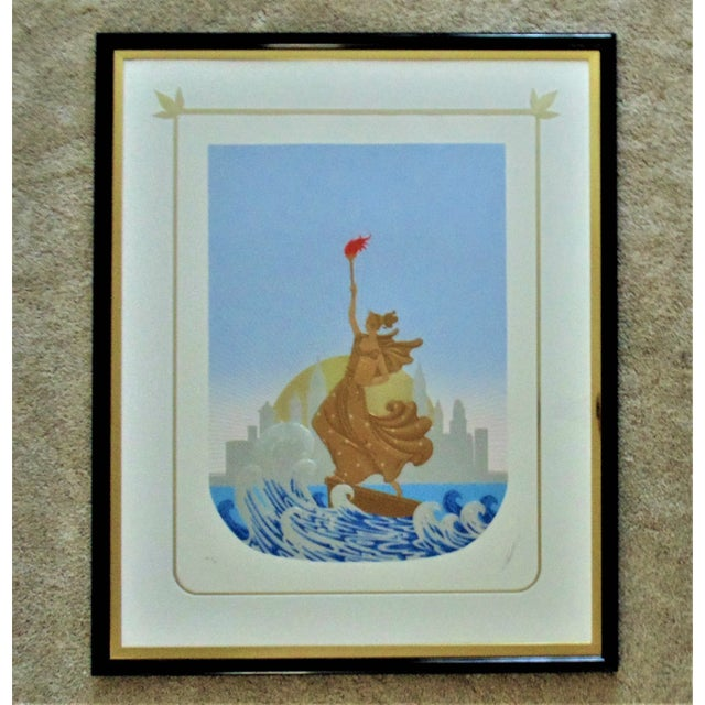 Blue Late 20th Century Erte Statue of Liberty / New York Skyline Art Deco Inspired Serigraph For Sale - Image 8 of 8