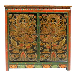 Chinese Tibetan Golden Dragon Graphic Credenza Storage Cabinet For Sale