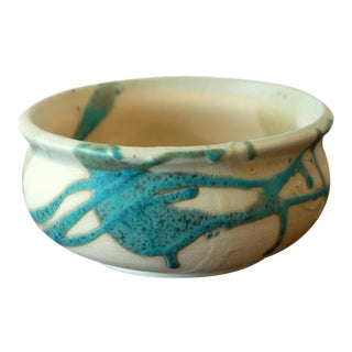 Turquoise and Cream Textured Glaze Studio Pottery Ceramic Low Bowl For Sale