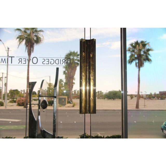 1980s Five-Panel Glass and Brass Hinge Room Divider For Sale - Image 5 of 13