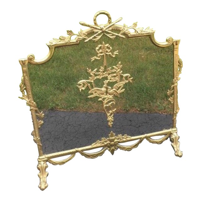 Louis XVI Style Brass Fireplace Screen - Image 10 of 10
