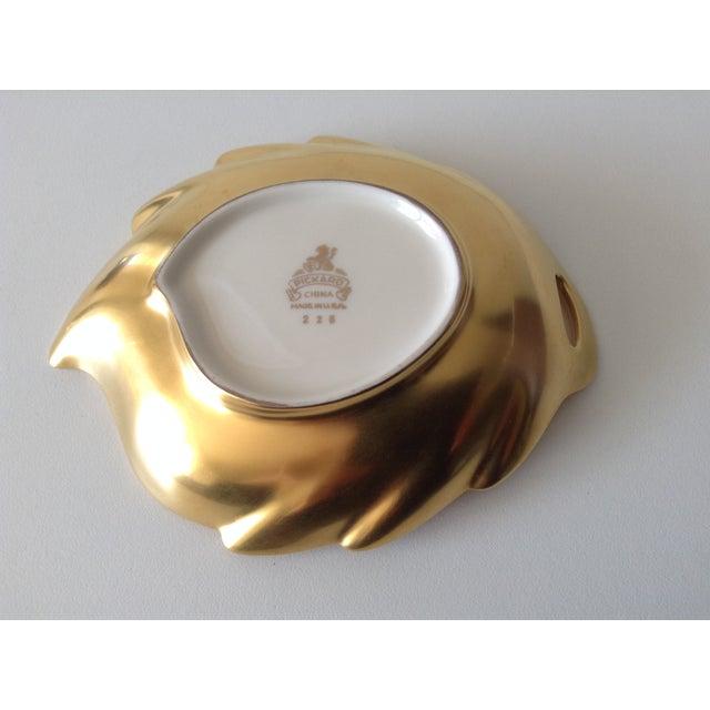 Pickard Porcelain Leaf Shaped Dish With 22k Gold For Sale - Image 5 of 5