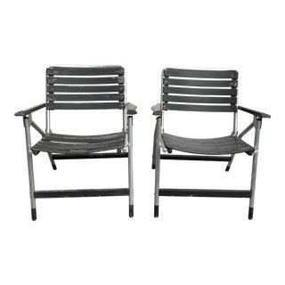 Mid-Century Folding Garden Patio Aluminum Chairs - A Pair