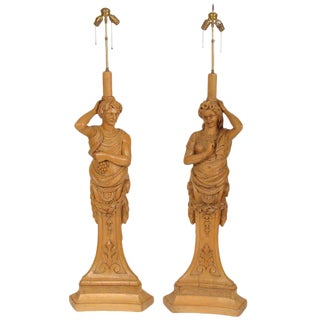 Carved Figural Floor Lamps - A Pair For Sale