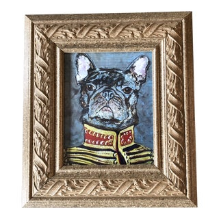 """French Bulldog Print by Contemporary Artist Judy Henn """" Military Frenchie """" For Sale"""