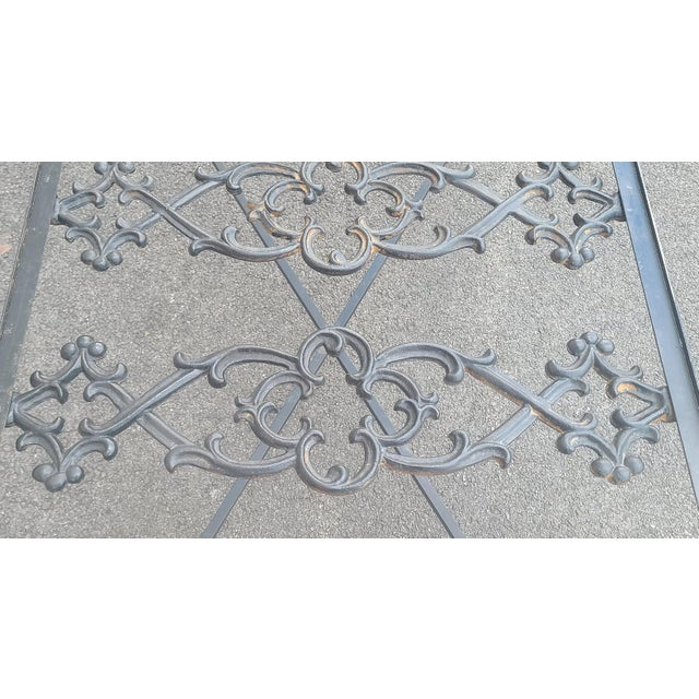 Heavy Wrought Iron Glass Top Coffee Table ~ Fabricated From Old French Gate, 50 X 29.5 ~1990s For Sale - Image 10 of 13