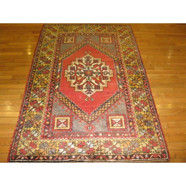Islamic Vintage Handmade Oriental Rug - 3′6″ × 5′7″ For Sale - Image 3 of 7