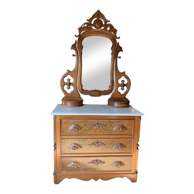 Late 1800's Victorian Carved Mahogany White Marble Top Dresser With Tilt Mirror For Sale