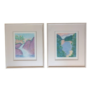 Framed Landscape Pastels Drawings - a Pair For Sale