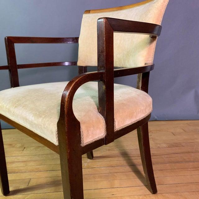 Pair 1930s German Art Deco Armchairs, Mahogany & Velvet For Sale - Image 9 of 12