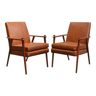 1950s Mid-Century Modern Teak Side Chairs - A Pair