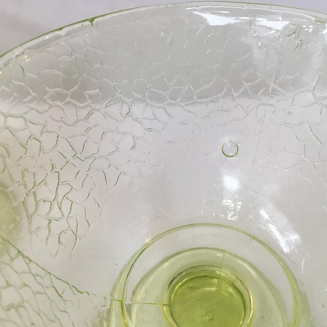 Glass Cracked Uranium Lime Green Glass Dishes - Set of 6 For Sale - Image 7 of 11