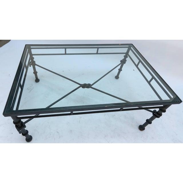 Italian Rectangular Iron Coffee Table With Glass Top ...