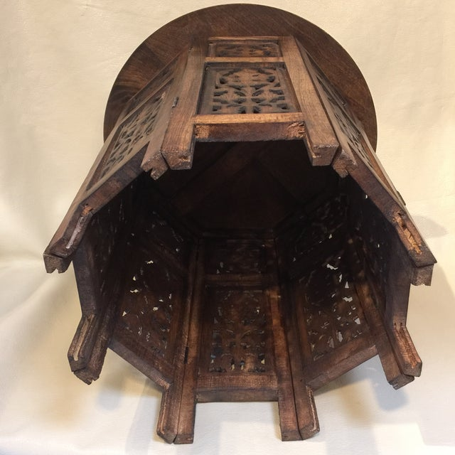 Boho Chic Teak Carved Round Table For Sale - Image 3 of 8