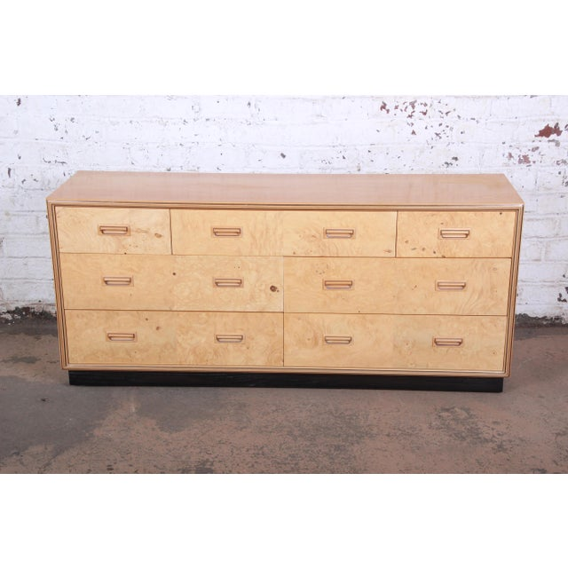 Mid-Century Modern Milo Baughman Style Burl Wood Dresser or Credenza by Henredon For Sale - Image 3 of 13