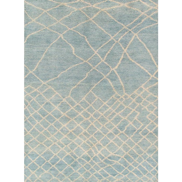 Pasargad Moroccan Collection Blue Rug -6' x 9' - Image 1 of 2