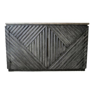 Stone & Rustic Wood Diamond Cabinet For Sale