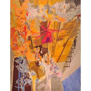 """Yasemin Kackar Demirel """"Burn, Burn, Burn"""" Framed Mixed Media Painting on Paper For Sale"""