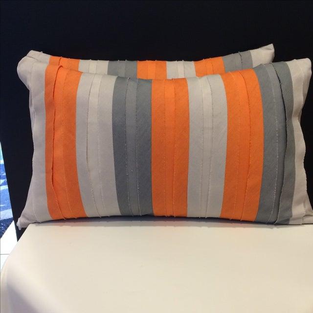 Bolsters in Orange & Grey - A Pair - Image 2 of 3