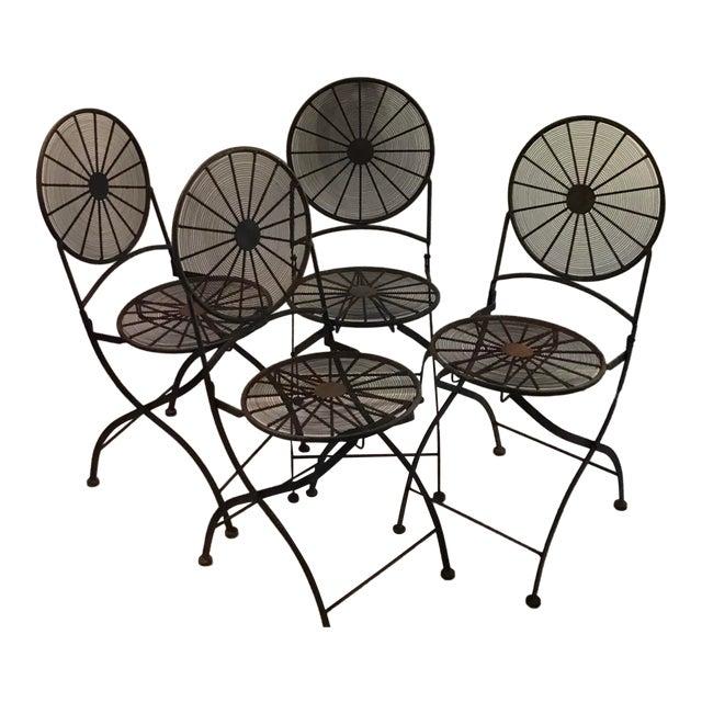 1960s Vintage Wrought Iron Pinwheel Bistro Style Folding Chair- Set of 4 For Sale