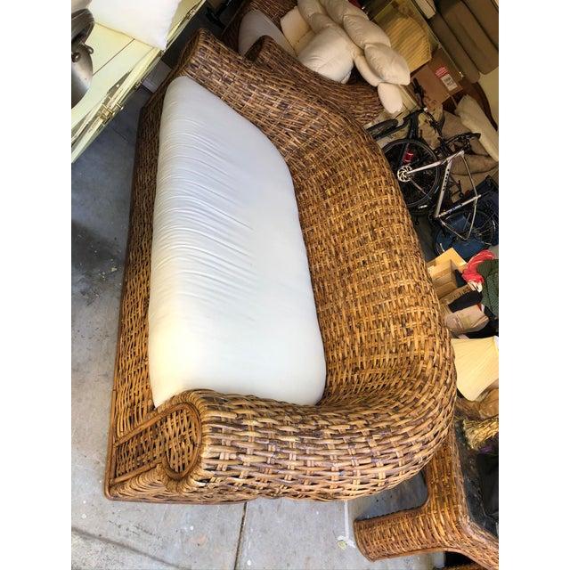 Mid-Century Modern 1980s Vintage Oversized Split Bamboo Sofa For Sale - Image 3 of 4