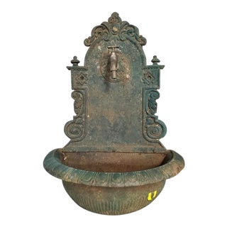 19th Century Antique Cast Iron French Wall Fountain For Sale