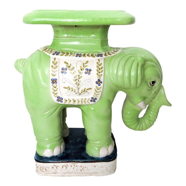 Large Lime Green Italian Elephant Garden Seat/Stool/Side Table For Sale