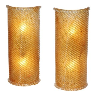 Crescent Murano Wall Sconces - A Pair