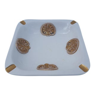 Italian White And Gold Glaze Decorative Ashtray .