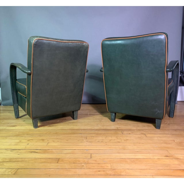 Pair Baxter Italia Green Leather Armchairs, 1990 For Sale - Image 10 of 11