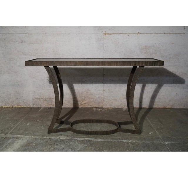 Torch Cut Iron Console With Polished Stone Top