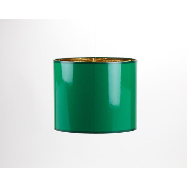 High Gloss Drum Lamp Shade Made To Order: 1-2 week lead time Individually hand-made Exterior Color: Emerald Green (RAL...