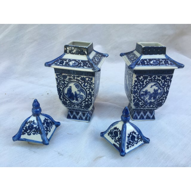 Blue & White Lidded Pagoda Vases - A Pair - Image 8 of 9