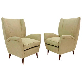 Pair of Gio Ponti Armchairs, Model 512, Italy - New Upholstery For Sale