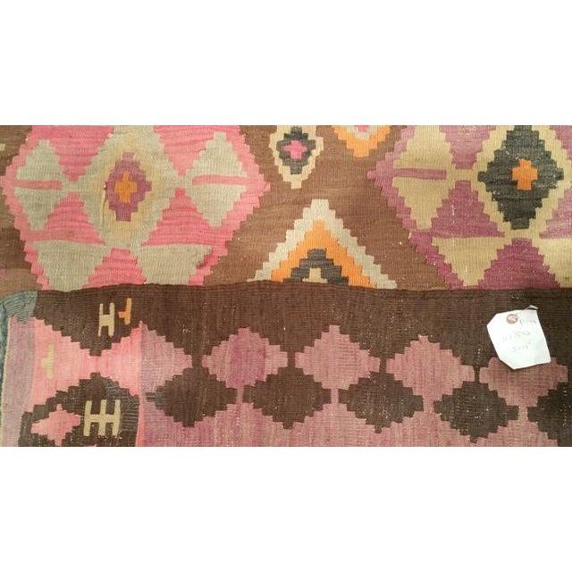 Islamic Vintage Traditional 14 Ft. Handmade Kilim Wide Runner Rug - 5′ × 14′5″ For Sale - Image 3 of 3