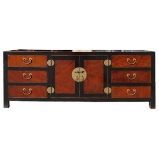 Chinese Black Brown Tone Low Tv Console Cabinet