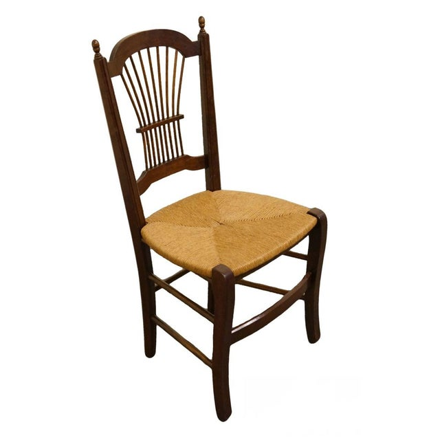 Brown 20th Century Early American Solid Cherry Wheat Back Dining Side Chair For Sale - Image 8 of 8