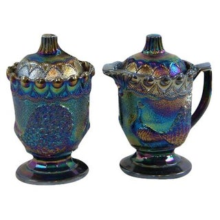 Strutting Peacock Carnival Glass Sugar & Creamer