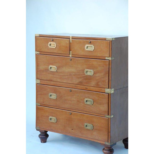 sale retailer 858e3 b18a7 19th Century English Blond Mahogany Five Drawer Campaign Chest