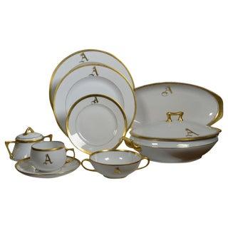 White Porcelain Dinnerware 149 Pieces, Gilt Rim For Sale