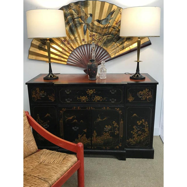 Mid Century Black and Brass Lamps - a Pair - Image 2 of 6
