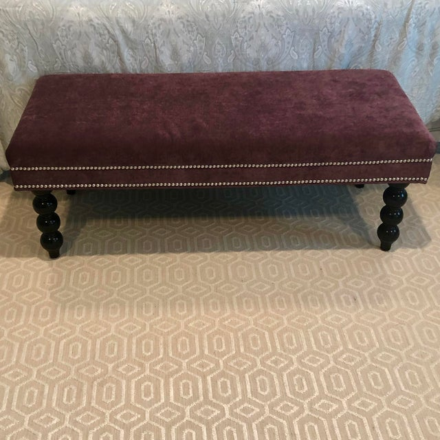 "Lee Industries Colette Bench Luxurious plum velvet bench with nail head trim 48x20 x 17.5"" h"