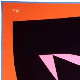 This rectangular tapestry features an abstract black shape on an orange background with a light blue border and a light...