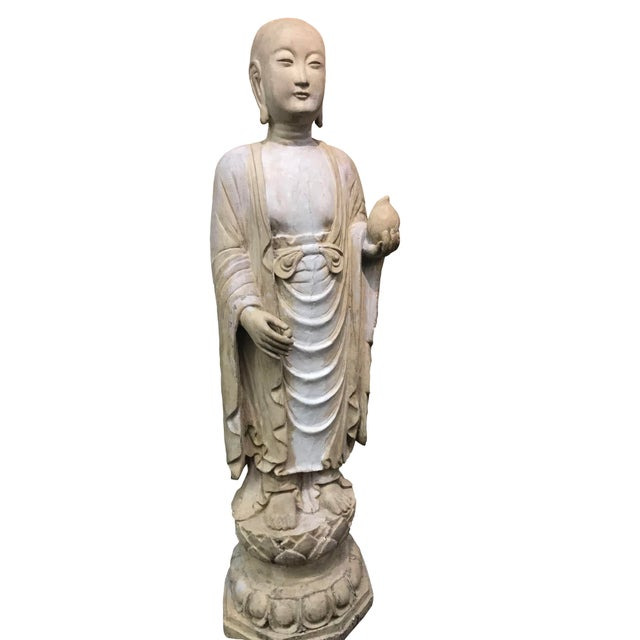19th Century Hardwood and Polychrome Buddhist Figure For Sale - Image 4 of 5