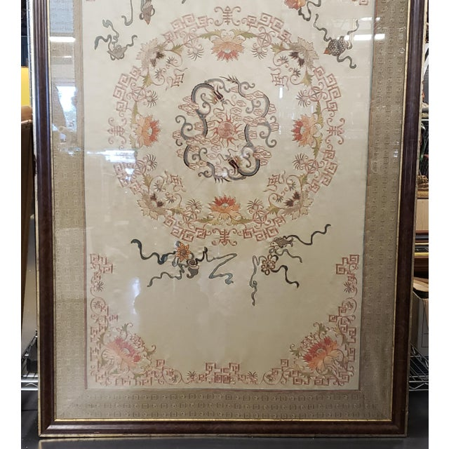 Chinese Early 20th Century Chinese Framed Embroidered Silk Panel For Sale - Image 3 of 6