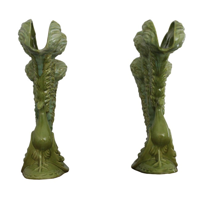 Royal Haeger Mid-Century Green Peacock Vases - A Pair - Image 3 of 4